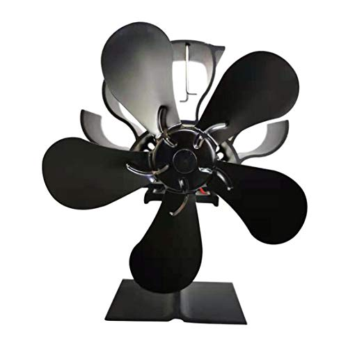 BXJJJK - Ventilador de chimenea de energía térmica con 5 hojas para estufa de leña alimentada por calor para distribuir calor de quemador de leña