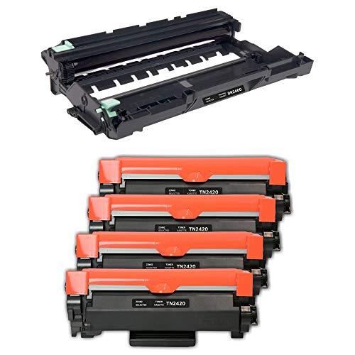 ZINNZ - Cartuccia di ricambio compatibile per Brother TN2420 TN-2420 TN2410 TN-2410 per Brother MFC-L2710DW HL-L2350DW DCP-L2530DW MFC-L2710DN DCP-L2510D HL-L2310D (1 tamburo + 4 toner Nero.