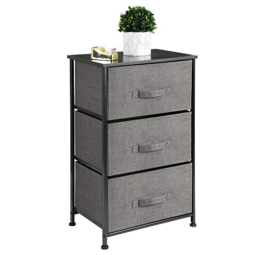 mDesign Vertical Dresser Storage Tower - Sturdy Steel Frame Wood Top Easy Pull Fabric Bins - Organizer Unit for Bedroom Hallway Entryway Closets - Textured Print - 3 Drawers Charcoal GrayBlack