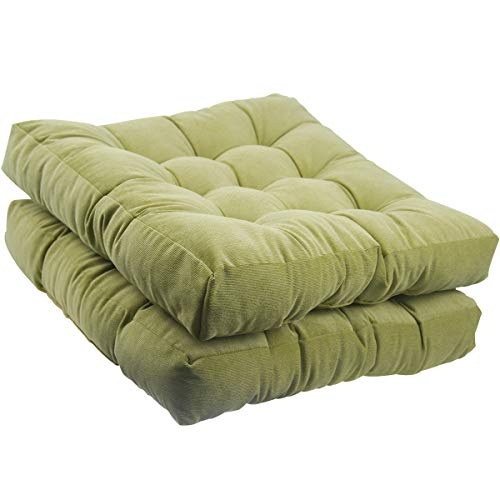 Tiita Square Chair Cushion Outdoor Floor Pillows Meditation Pillow for Seating Patio Office, Thick Tufted Pillow for Yoga Living Room Sofa Balcony Garden Set of 2, 22x22 Inch, Green