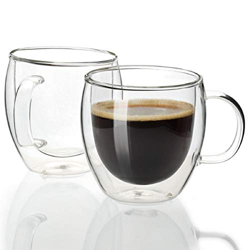 Sweese 412.101 Espresso Cups Shot Glass Coffee 5 oz Set of 2 - Double Wall Insulated Glass Mugs with Handle, Everyday Coffee Glasses Cups Perfect for Espresso Machine and Coffee Maker