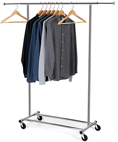 Auledio Clothes Garment Rack, Commercial Grade Clothes Rolling Heavy Duty Storage Organizer on Wheels with Adjustable Clothing Rack , Holds up to 200 lbs, Chrome (One Head)