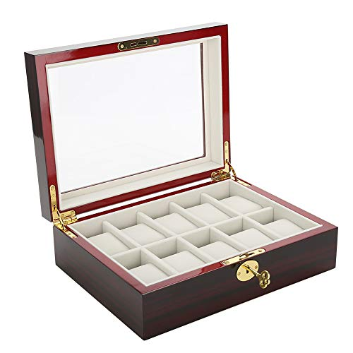 Zerone Orologio Display Case, Wood Watch Storage Box Display Orologio da Uomo e da Donna Display Organizer con Chiusura di Metallo Gioielli Occhiali da Sole con Custodia 12.7 * 8.1 * 3.3inch 10 Slots