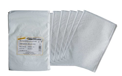 Waschhandschuhe Einmal- Einweg- ultrasoft Profi Qualität Molton Waschlappen weiss Original Tiga-Med Qualität, 100 Stück