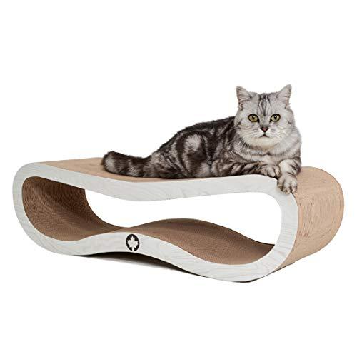 CanadianCat Company ® | Orbit | 84 X 24 X 23cm | Kratzmöbel, Kratzbrett | XXL Kratzpappe für Katzen + Katzenminze | weiße Holzoptik Kratzkarton für Katzen