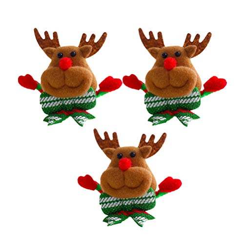 BESTOYARD Broche de Navidad luminoso, clips luminosos, vacaciones, Navidad, fiesta, cumpleaos, regalo para nios, 3 unidades (elk)