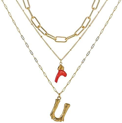ZQMC Collar, Collar con Inicial, Oro, bambú, Letra, Iniciales, Nombre, Collares, Colgante de Coral Rojo, Cadena de eslabones para Mujer, Regalo de cumpleaños