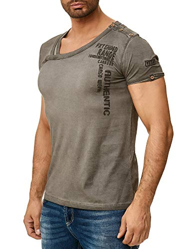 Tazzio Herren T-Shirt Kurzarm Shirt und Rundhalsausschnitt 100% Baumwolle Anthrazit L