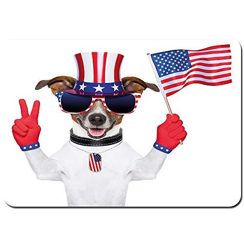 YANAIX Alfombra de Baño,Divertido Perro Mascota con un Sombrero del tío Sam con un Signo de Paz y una Bandera Americana,Súper Suave Multiuso Lavable a Máquina75x45cm