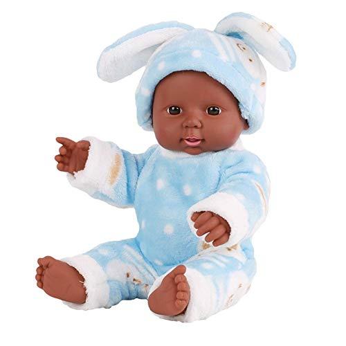 houseHome Poupon–Alicia–negro muñeca afro-américaine réalistes 12pulgadas bebé muñecas para niños juguetes para niños. azul azul