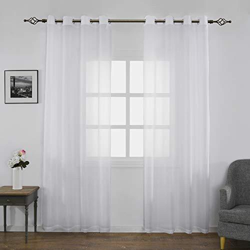 FLOWEROOM Transparent Voile Gardinen - Einfarbige Durchsichtig Vorhänge mit Ösen für Wohnzimmer 245x140 cm Weiß 2er Set