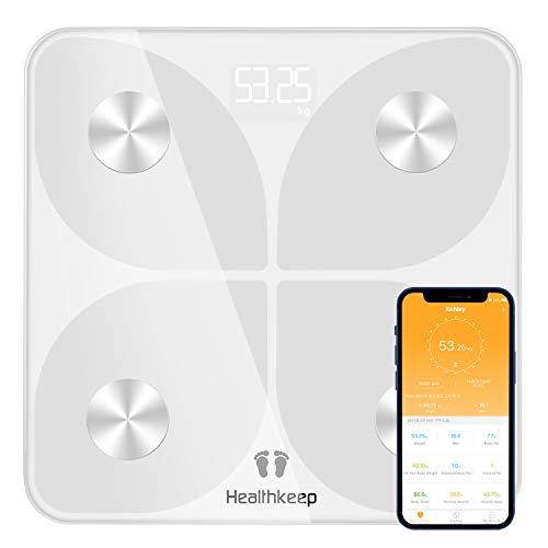 Bilancia Pesapersone Digitale Bilancia Pesapersone con Bluetooth Bilancia Pesa Persona Digitale con App - Misura Peso Corporeo, Massa Grassa, BMI, Massa Muscolare, Massa Ossea, Proteine, Bianco