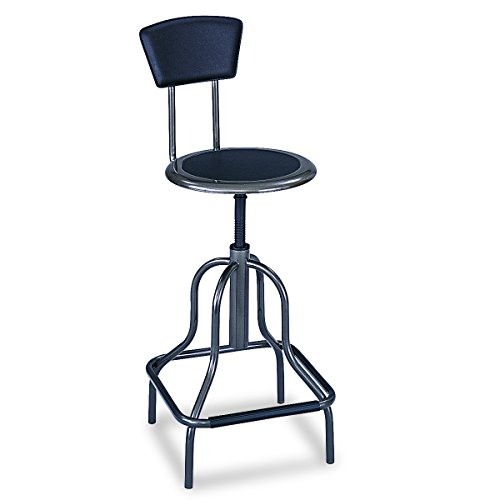 Safco Products Diesel High Base Stool with Back, Pewter