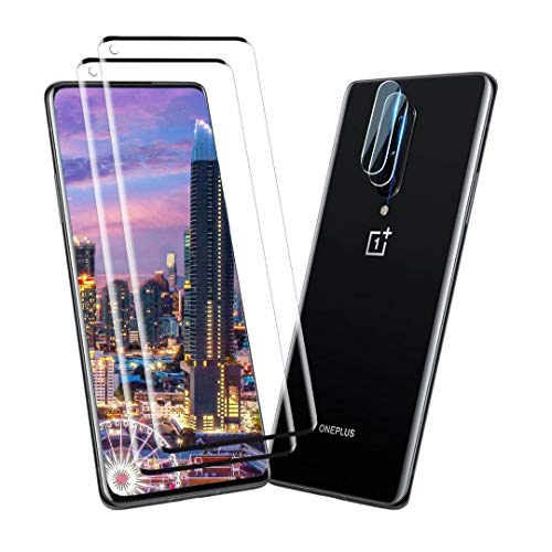 [2+2 Pack] Screen Protector + Camera Lens Protector for Oneplus 8 pro,[Scratch-Resistant] 4D Curved Tempered Glass