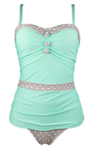 COCOSHIP Mint Green & Tan White Polka Dot Women's Retro Ruching Button Collar Trim Bikini Set...