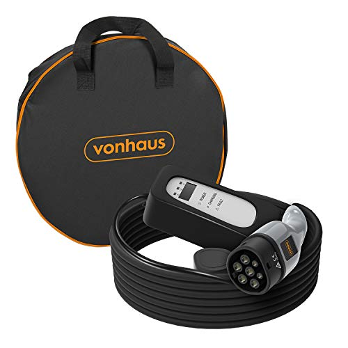 VonHaus EV/Electric Vehicle Charging Cable – UK Plug to Type 2, 10 Amp Electric Car Charger – 6.5m, Shower resistant, With Carry Case