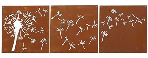 Ferrum Edelrost Bildtriologie Pusteblume 3tlg. Set, 30 x 30cm, 8-1014