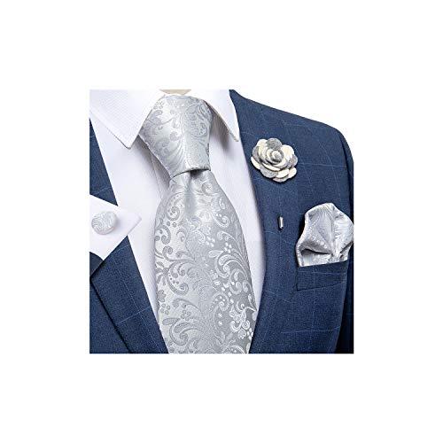 DiBanGu Men's Floral Tie and Pocket Square Lapel Pin Woven Necktie Cufflink Set (Silver)