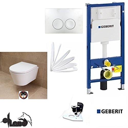Geberit Duofix Vorwandelement, City Design Tiefspül WC Komplettset + Deckel Absenkautomatik, Schallschutz, Drückerplatte weiss