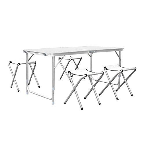 HF HOMFA 120cm Campingtisch Klapptisch Set mit 4 Klappstühle Aluminium. Höhenverstellbarer Klapptisch Campingmöbel als Gartentisch, Falttisch, Reisetisch, zum Camping uvm. (weiß, 120cm)