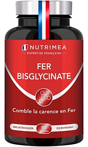 FER bisglycinate + Vitamine C - 14 mg de Fer/gélule - 100% des besoins - Absorption et biodisponibilité maximales - Cure 3...