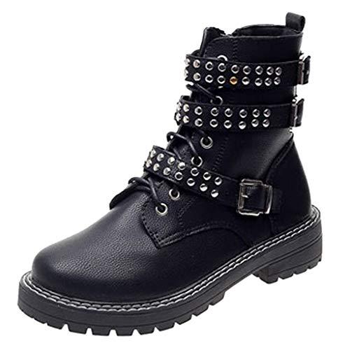 Dasongff Dameslaarzen, met veters, zwart leer, hoge kwaliteit