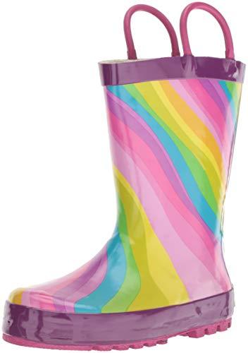 Western Chief Boys' Waterproof Printed Rain Boot, Rainbow, 11-12 M US Little Kid
