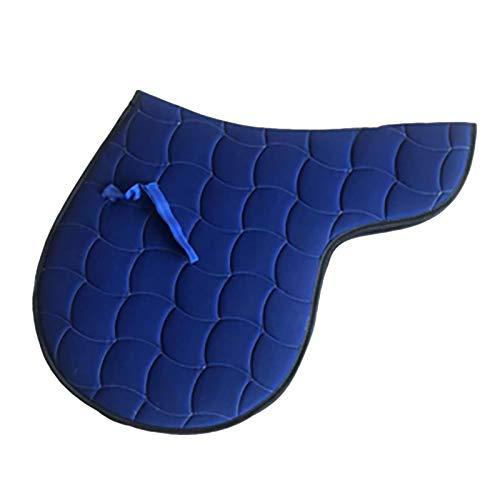 Hmpet Mantilla de Caballo Almohadilla de sillín británica Transpirable Acolchada de algodón Que Absorbe el Sudor, Almohadilla para Montar a Caballo, Lavable a máquina,Azul