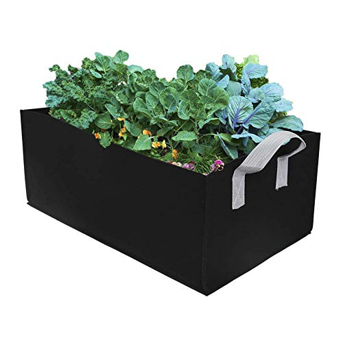 Keebgyy Rectangle Plant Grow Bags, 2mm Thick Fabric Garden Fabric Raised Bed Breathable Planting Grow Container (with 2 Handles), for Potato Tomato Carrot Heavy Duty Large Black