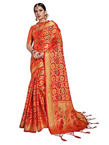 Style Instant - Sari indio para mujer Banarasi Patola Art, seda tejida, regalo de boda étnica con blusa sin costuras Rojo rosso Talla única
