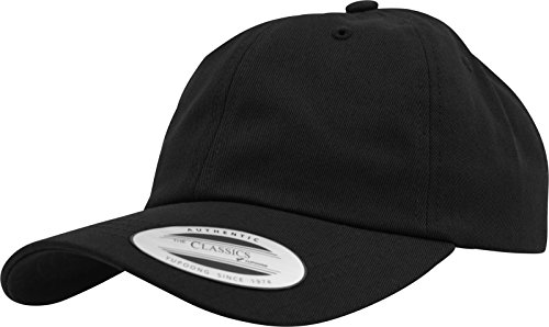Yupoong Flexfit Low Profile Cotton Twill Unisex Dad Hat Cap für Damen und Herren, 6 Panel Baseball Cap unstructured mit Messingverschluss, black, One
