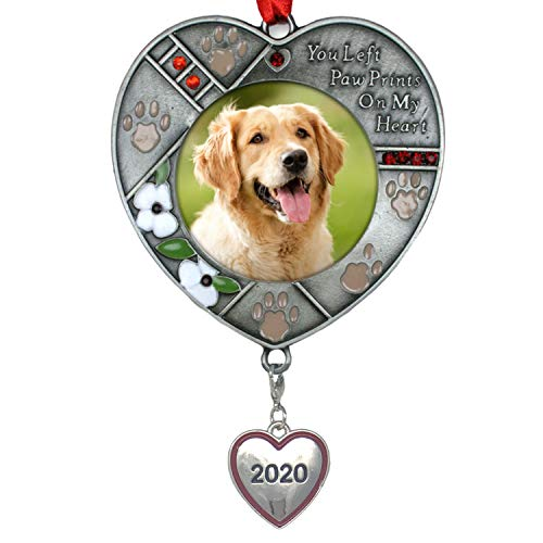 BANBERRY DESIGNS Pet Memorial Christmas Ornament Dated 2020 - Paw Prints on My Heart Poem Saying - Lobster Clasp Attached to Hang Your Dogs ID Tags