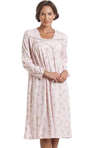 CAMILLE Klassisches Nachthemd - langärmlig - Blumenmuster - Rosa 46/48