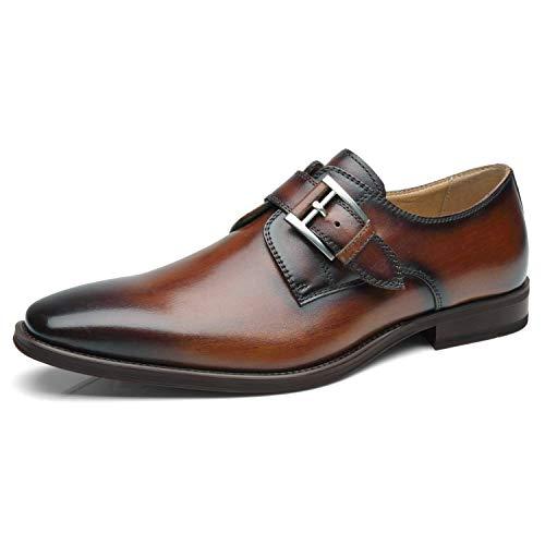 La Milano Mens Plain Toe Single Monk Strap Slip on Loafers Leather Oxford Modern Formal Business Dress Shoes ?, Will-3-cognac, 10.5
