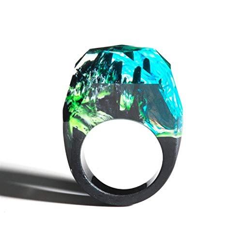 HappyL Neue Frauen Epoxidharz Magie Holz Ring Tileable Ring Schmuck Mode Natürliche Landschaft Holz Rechteckige Ring Geschenk (Color : E, Size : 7.5)