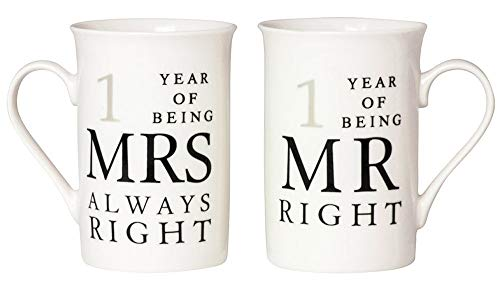 Haysoms Ivory 1st Anniversary Mr Right & Mrs Always Right Mug Gift Set