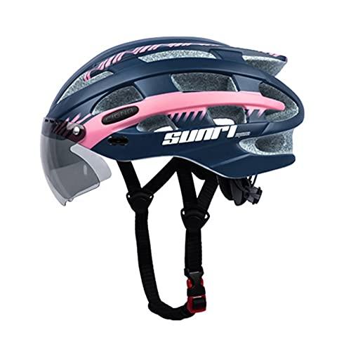 Leezo Casco de bicicleta para adultos para mujeres y hombres, casco de bicicleta de carretera con USB recargable luz trasera desmontable magnético gafas visera