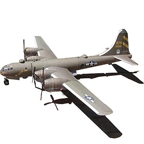 Lllunimon 1/47 USA B-29 Super Fortress Bomber Model Kit, DIY 3D Paper Avión Hecho a Mano Juguete Colección Militar decoración