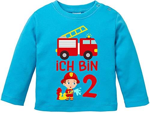 EZYshirt® Kinder Feuerwehrauto 2. Geburtstag Jungen T-Shirt Baby Langarm Bio Baumwolle