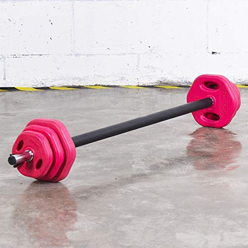 Jasmin FS 20kg Standard-Gummi Farbige Langhantelset, 20KG Barbell Kit Studio Pump Set for Aerobic Gewichte Übung, Home Gym Fitness Bar (Größe : 2)