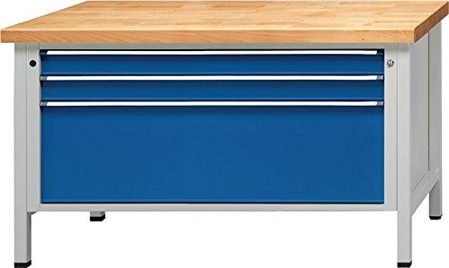 Anton Kessel GmbH Werkbank VX B1500xT800xH850mm Buche massiv lichtgrau enzianblau Anz. Schubl. 3
