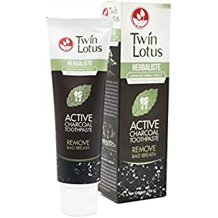 Twin Lotus Active Charcoal Toothpaste Herbaliste Triple Action 100g (3.52 Oz) X 1 Tube #1 USA BESTSELLER:Animalnews