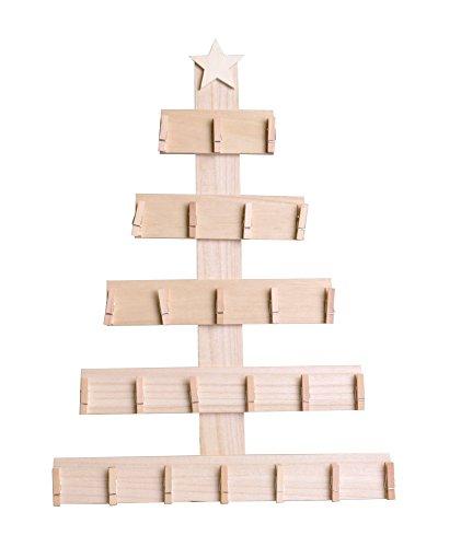 Artemio 14002294 Calendrier de l'Avent en Bois à décorer Sapin à pinces-35.5cm x 50cm x 2.5cm, 35,5 x 2,5 x 50 cm