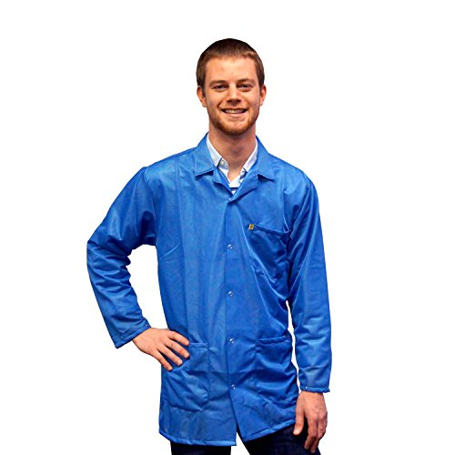 StaticTek Full Sleeve Snap Cuff ESD Jacket | Anti-Static Lab Coat | Certified Level 3 Static Shielding | Light Weight | ESD Smocks with High ESD Protection | 3XL | Light Blue | TT_JKC9027SPLB