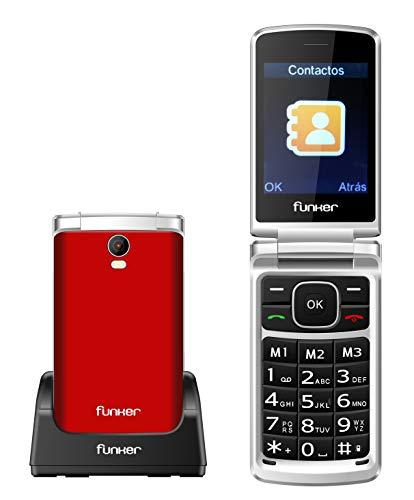 Teléfono Móvil Funker C95 Comfort MAX con Tapa y Pantalla Extragrande, Fácil Uso para Personas Mayores con botón SOS y Base cargadora (Rojo).