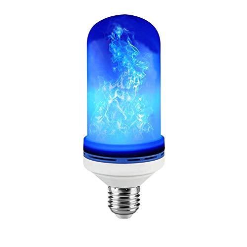 LED Llama Efecto De La Bombilla-E27 Base-3 Modos Al Revés Simulación Fuego Parpadeo-Lámpara De Ambiente Vintage Para Navidad/Año Nuevo Hotel Bares Casa Decoración De Fiesta-Azul [4 Piezas],B