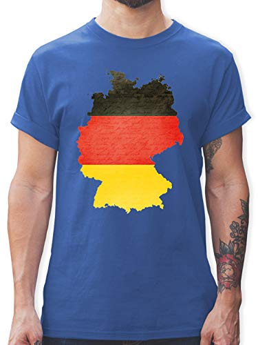 Fußball-Europameisterschaft 2021 - Deutschland Karte - XL - Royalblau - patriotisch - L190 - Tshirt Herren und Männer T-Shirts