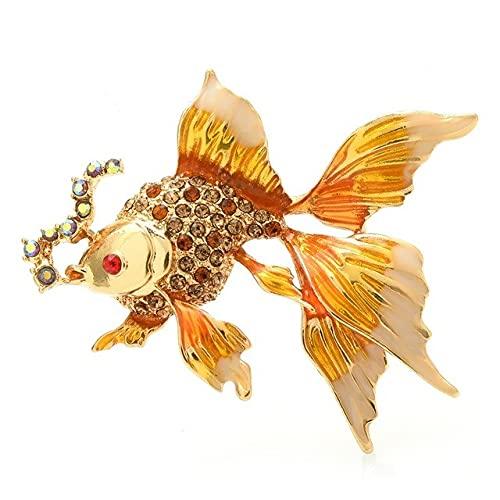 MPU Broches de pescado de oro esmaltados, unisex, 3 colores de diamantes de imitación de mar y fiesta, oficina, broche de regalos
