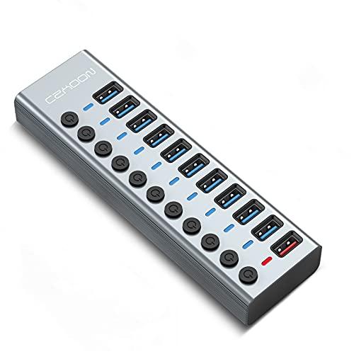 USB Hub 3.0 11 Puertos Externo PC Laptop Extensión Splitter 10 Puerto USB 3.0 Datos e 1 Puerto Carga Rapida, con botón de Encendido Individual Switch, 12V/4A Adaptador de Corriente 1,2m Cable