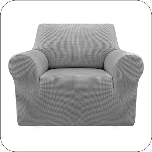 Amazon Brand - Umi Sofabezug Stretch Sofaüberzug Jacquard Sesselbezug Couchhusse Wohnzimmer 1-Sitzer Hellgrau